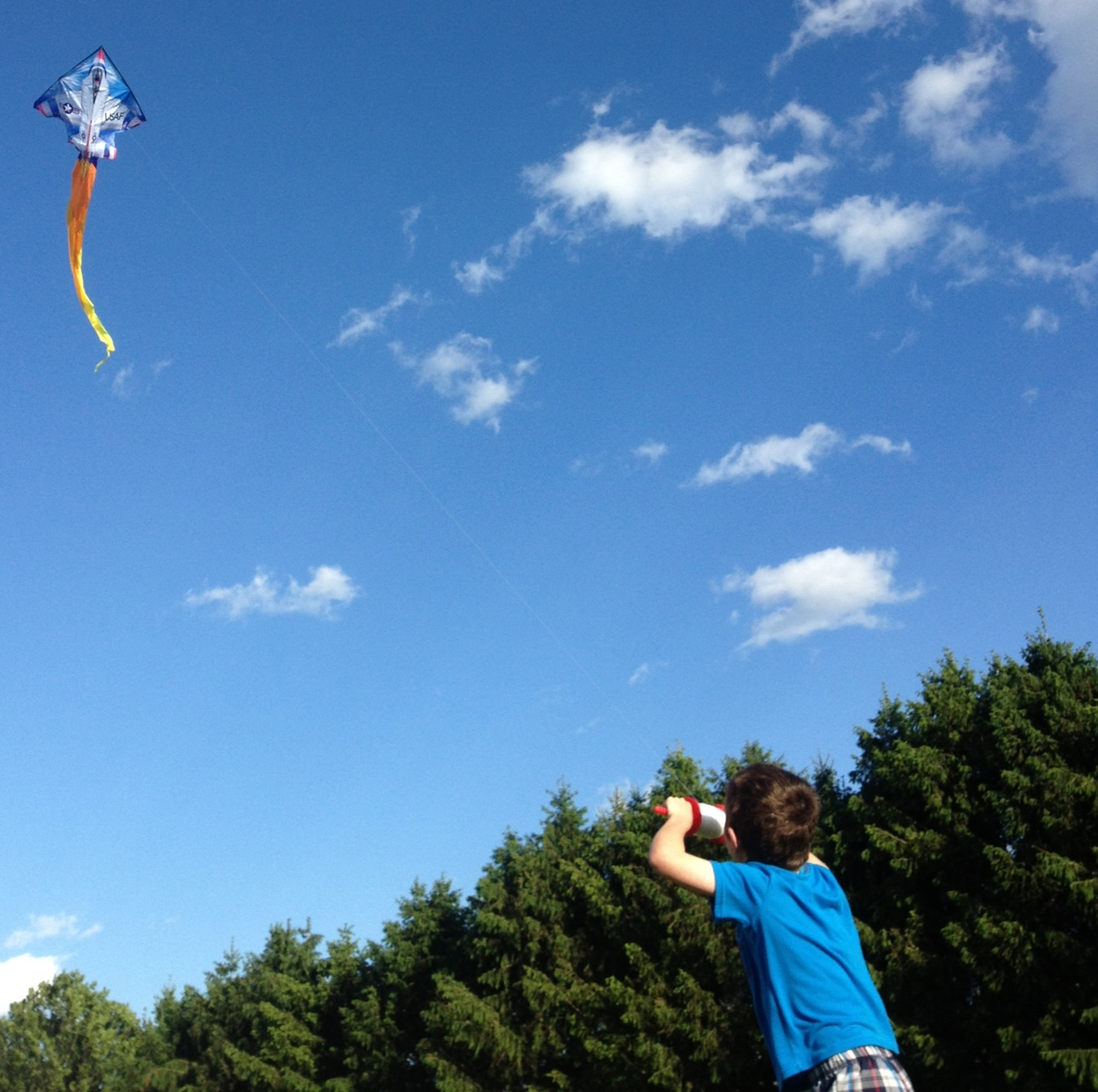nick flying kite on memorial day weekend